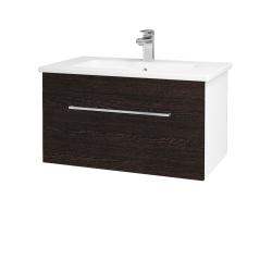 Dřevojas - Koupelnová skříň ASTON SZZ 80 - N01 Bílá lesk / Úchytka T04 / D08 Wenge (131012E)
