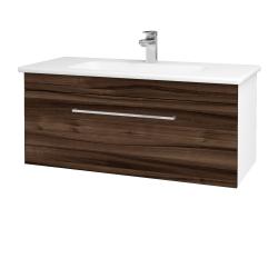 Dřevojas - Koupelnová skříň ASTON SZZ 100 - N01 Bílá lesk / Úchytka T04 / D06 Ořech (131074E)