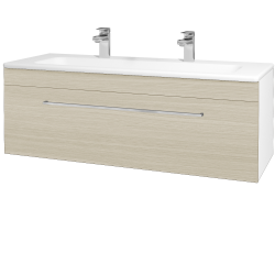 Dřevojas - Koupelnová skříň ASTON SZZ 120 - N01 Bílá lesk / Úchytka T04 / D04 Dub (131128EU)