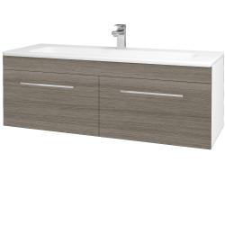 Dřevojas - Koupelnová skříň ASTON SZZ2 120 - N01 Bílá lesk / Úchytka T04 / D03 Cafe (131180E)