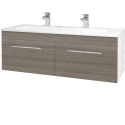 Dřevojas - Koupelnová skříň ASTON SZZ2 120 - N01 Bílá lesk / Úchytka T04 / D03 Cafe (131180EU)