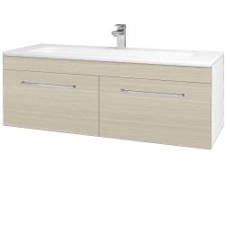 Dřevojas - Koupelnová skříň ASTON SZZ2 120 - N01 Bílá lesk / Úchytka T04 / D04 Dub (131197E)