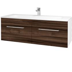 Dřevojas - Koupelnová skříň ASTON SZZ2 120 - N01 Bílá lesk / Úchytka T04 / D06 Ořech (131210E)
