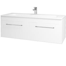 Dřevojas - Koupelnová skříň ASTON SZZ2 120 - N01 Bílá lesk / Úchytka T04 / L01 Bílá vysoký lesk (131623E)