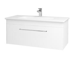 Dřevojas - Koupelnová skříň ASTON SZZ 100 - N01 Bílá lesk / Úchytka T04 / L01 Bílá vysoký lesk (137557E)
