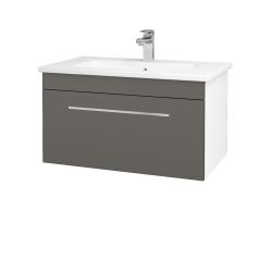 Dřevojas - Koupelnová skříň ASTON SZZ 80 - N01 Bílá lesk / Úchytka T04 / N06 Lava (199388E)