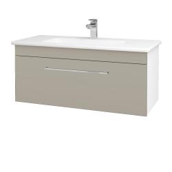 Dřevojas - Koupelnová skříň ASTON SZZ 100 - N01 Bílá lesk / Úchytka T04 / M05 Béžová mat (199975E)