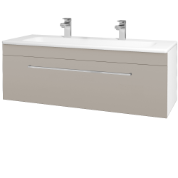 Dřevojas - Koupelnová skříň ASTON SZZ 120 - N01 Bílá lesk / Úchytka T04 / N07 Stone (200169EU)
