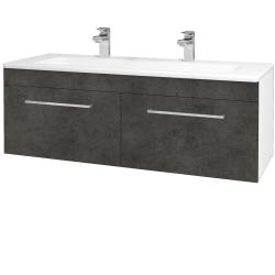 Dřevojas - Koupelnová skříň ASTON SZZ2 120 - N01 Bílá lesk / Úchytka T04 / D16 Beton tmavý (200268EU)