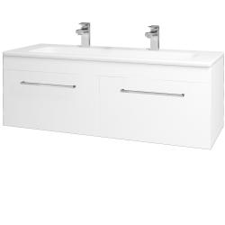 Dřevojas - Koupelnová skříň ASTON SZZ2 120 - N01 Bílá lesk / Úchytka T04 / M01 Bílá mat (200282EU)
