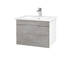Dřevojas - Koupelnová skříň ASTON SZZ 60 - N01 Bílá lesk / Úchytka T05 / D01 Beton (130886F)