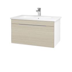 Dřevojas - Koupelnová skříň ASTON SZZ 80 - N01 Bílá lesk / Úchytka T05 / D04 Dub (130985F)