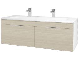 Dřevojas - Koupelnová skříň ASTON SZZ2 120 - N01 Bílá lesk / Úchytka T05 / D04 Dub (131197FU)