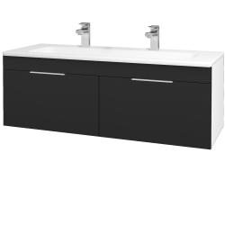 Dřevojas - Koupelnová skříň ASTON SZZ2 120 - N01 Bílá lesk / Úchytka T05 / L03 Antracit vysoký lesk (131616FU)