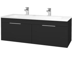 Dřevojas - Koupelnová skříň ASTON SZZ2 120 - L03 Antracit vysoký lesk / Úchytka T05 / L03 Antracit vysoký lesk (146955FU)