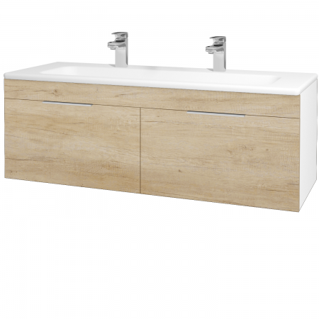 Dřevojas - Koupelnová skříň ASTON SZZ2 120 - N01 Bílá lesk / Úchytka T05 / D15 Nebraska (173999FU)