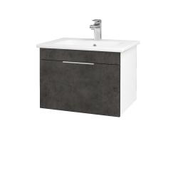 Dřevojas - Koupelnová skříň ASTON SZZ 60 - N01 Bílá lesk / Úchytka T05 / D16 Beton tmavý (199173F)