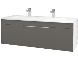 Dřevojas - Koupelnová skříň ASTON SZZ 120 - N01 Bílá lesk / Úchytka T05 / N06 Lava (200152FU)
