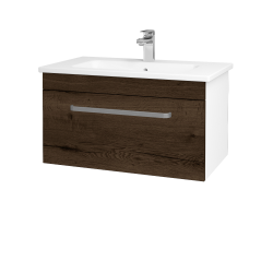 Dřevojas - Koupelnová skříň ASTON SZZ 80 - N01 Bílá lesk / Úchytka T01 / D21 Tobacco (276690A)
