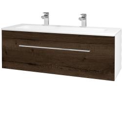 Dřevojas - Koupelnová skříň ASTON SZZ 120 - N01 Bílá lesk / Úchytka T04 / D21 Tobacco (276812EU)
