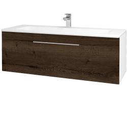 Dřevojas - Koupelnová skříň ASTON SZZ 120 - N01 Bílá lesk / Úchytka T05 / D21 Tobacco (276812F)