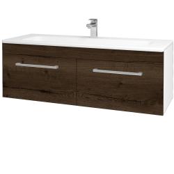 Dřevojas - Koupelnová skříň ASTON SZZ2 120 - N01 Bílá lesk / Úchytka T03 / D21 Tobacco (276850C)