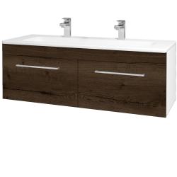 Dřevojas - Koupelnová skříň ASTON SZZ2 120 - N01 Bílá lesk / Úchytka T04 / D21 Tobacco (276850EU)