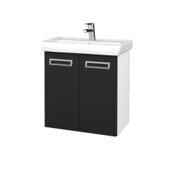 Dřevojas - Koupelnová skříň DOOR SZD2 60 - N01 Bílá lesk / Úchytka T39 / L03 Antracit vysoký lesk (122881G)