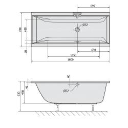 POLYSAN - CLEO obdélníková vana 160x70x48cm, opačný přepad, Chromo Plane, bílá (73611CHROMO), fotografie 20/12