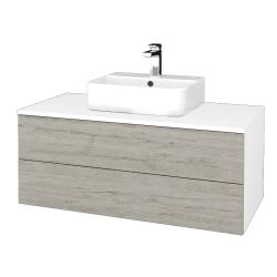 Dřevojas - Koupelnová skříňka MODULE SZZ2 100 - N01 Bílá lesk / D05 Oregon (299521)