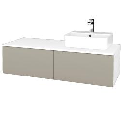 Dřevojas - Koupelnová skříňka MODULE SZZ12 120 - N01 Bílá lesk / M05 Béžová mat / Levé (301026)