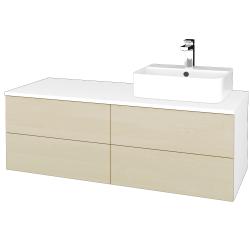 Dřevojas - Koupelnová skříňka MODULE SZZ4 120 - N01 Bílá lesk / D02 Bříza / Levé (301842)