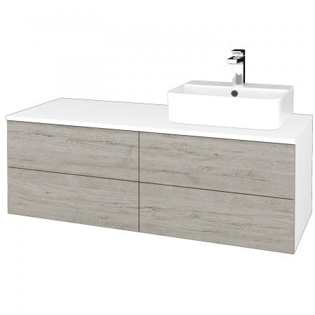 Dřevojas - Koupelnová skříňka MODULE SZZ4 120 - N01 Bílá lesk / D05 Oregon / Levé (301873)
