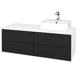 Dřevojas - Koupelnová skříňka MODULE SZZ4 120 - N01 Bílá lesk / L03 Antracit vysoký lesk / Levé (301989)