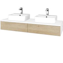 Dřevojas - Koupelnová skříňka MODULE SZZ2 140 - N01 Bílá lesk / D15 Nebraska (302863)