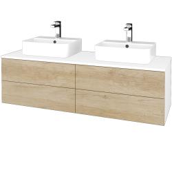 Dřevojas - Koupelnová skříňka MODULE SZZ4 140 - N01 Bílá lesk / D15 Nebraska (303792)