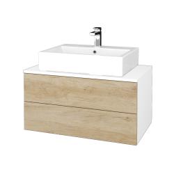 Dřevojas - Koupelnová skříňka MODULE SZZ2 80 - N01 Bílá lesk / D15 Nebraska (312251)