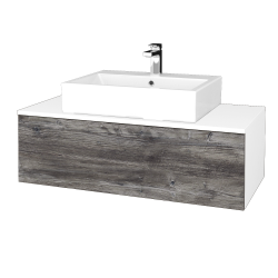 Dřevojas - Koupelnová skříňka MODULE SZZ1 100 - N01 Bílá lesk / D10 Borovice Jackson (313180)