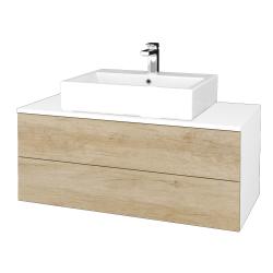 Dřevojas - Koupelnová skříňka MODULE SZZ2 100 - N01 Bílá lesk / D15 Nebraska (313661)