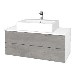 Dřevojas - Koupelnová skříňka MODULE SZZ2 100 - N01 Bílá lesk / D01 Beton (313791)