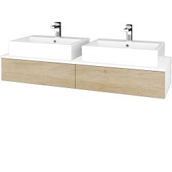 Dřevojas - Koupelnová skříňka MODULE SZZ2 140 - N01 Bílá lesk / D15 Nebraska (316952)