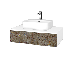 Dřevojas - Koupelnová skříňka MODULE SZZ 80 - N01 Bílá lesk / J01 Organic (318611)