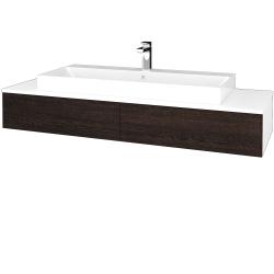 Dřevojas - Koupelnová skříňka MODULE SZZ2 140 - N01 Bílá lesk / D08 Wenge (337384)
