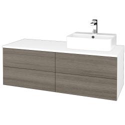 Dřevojas - Koupelnová skříňka MODULE SZZ4 120 - N01 Bílá lesk / D03 Cafe / Pravé (302320P)