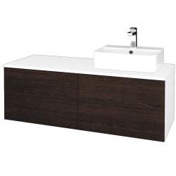 Dřevojas - Koupelnová skříňka MODULE SZZ4 120 - N01 Bílá lesk / D08 Wenge / Pravé (302368P)