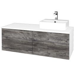 Dřevojas - Koupelnová skříňka MODULE SZZ4 120 - N01 Bílá lesk / D10 Borovice Jackson / Pravé (302382P)