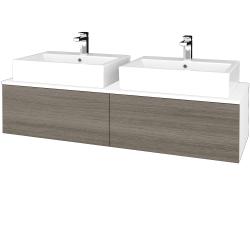 Dřevojas - Koupelnová skříňka MODULE SZZ12 140 - N01 Bílá lesk / D03 Cafe (317355)