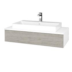 Dřevojas - Koupelnová skříňka MODULE SZZ 100 - N01 Bílá lesk / D05 Oregon (334338)