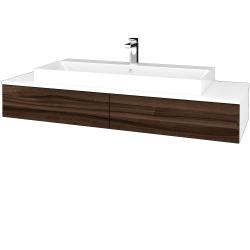 Dřevojas - Koupelnová skříňka MODULE SZZ2 140 - N01 Bílá lesk / D06 Ořech (337377)