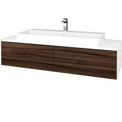 Dřevojas - Koupelnová skříňka MODULE SZZ12 140 - N01 Bílá lesk / D06 Ořech (337841)